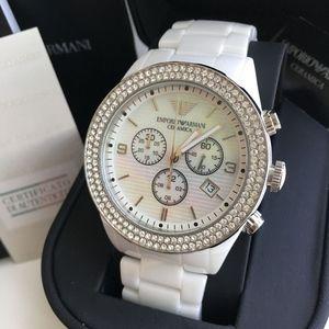 6965f436 Emporio Armani White Ceramic Ladies Watch Ar1456 NWT